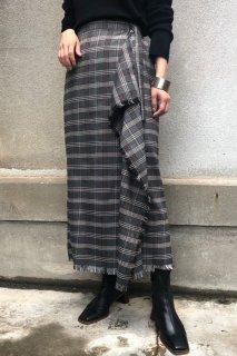 Check motif fringe wrap skirt