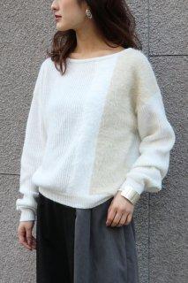 Shaggy bi-color knit