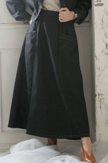 Stitch flare denim skirt