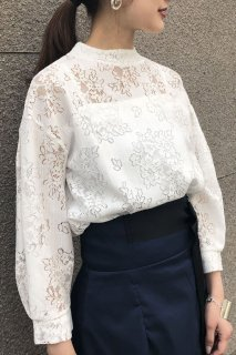 Cotton lace sleeve tuck blouse