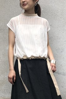 Stripe tulle blouse