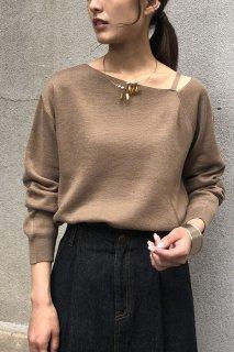 Asymmetry neck knit tops