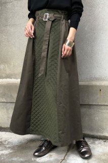 Velor quilted long skirt