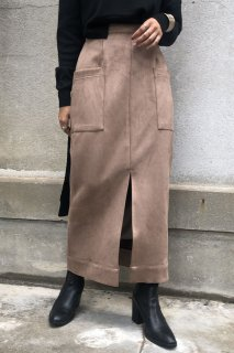 Slit suede long tight skirt