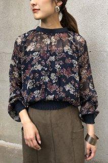 Floral Shirring Sheer Blouse