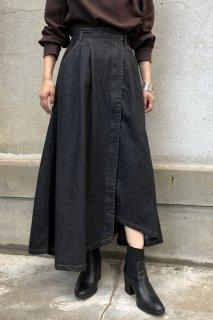 Denim wrap flare skirt
