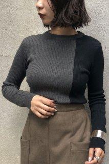 Bicolor rib knit tops