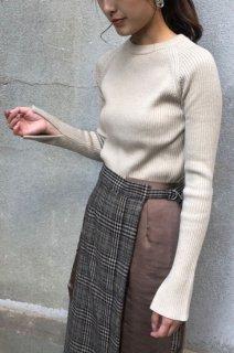 High neck rib knit tops