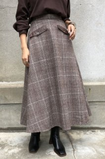 Check tweed flare skirt
