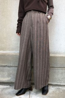 Tweed striped wide pants