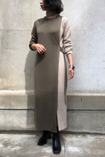 Rib switch bicolor knit dress
