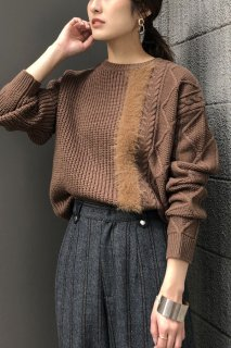 Asymmetrical shaggy line knit