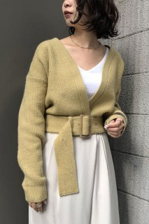 Mohair blended short knit cardigan