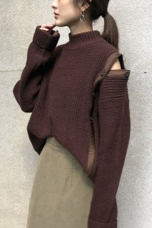 Asymmetric shoulder slit knit