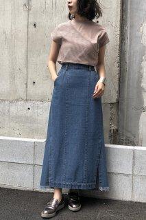Denim side slit skirt