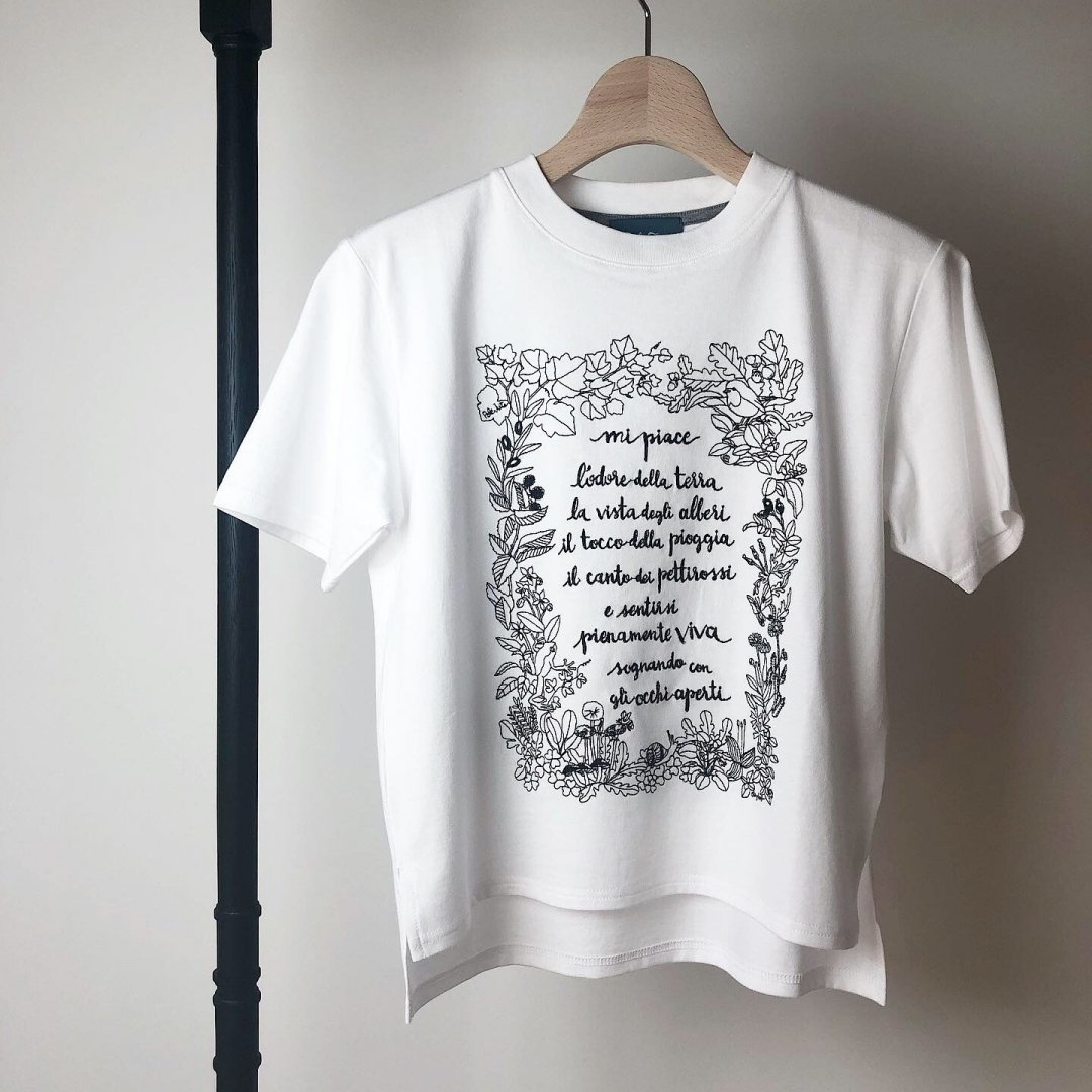 ChizuKobayashi×PaleJute<BR>embroidery T  KIDS<BR>WHITE×BLACK