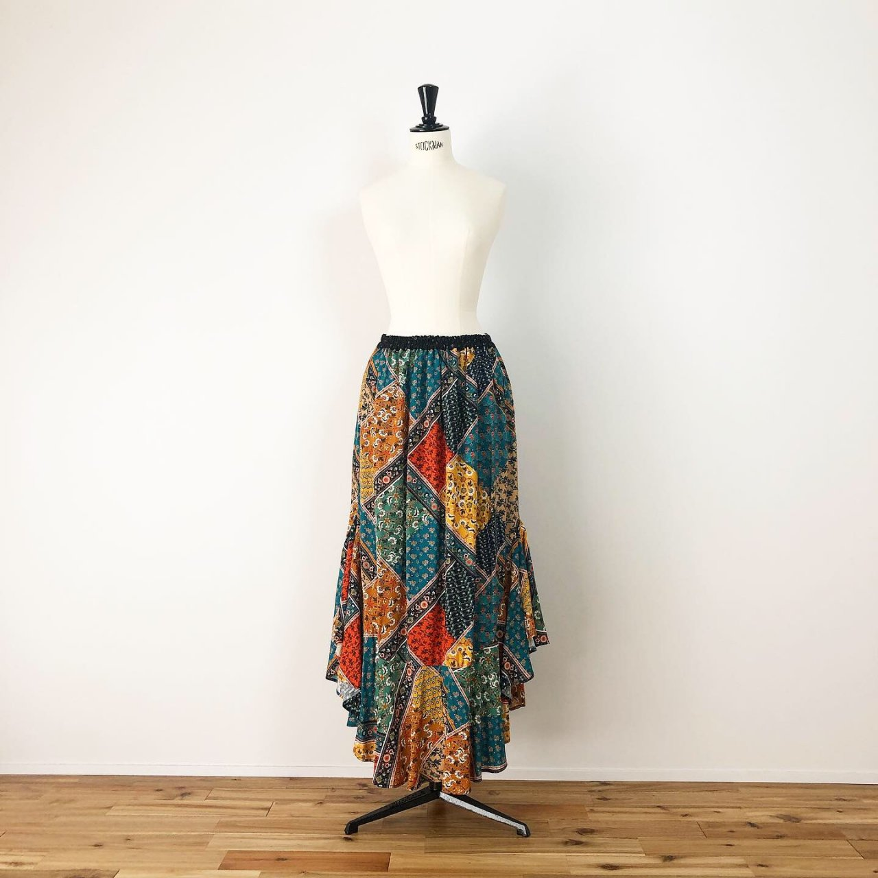 Scarf print long skirt<BR>yellow multi
