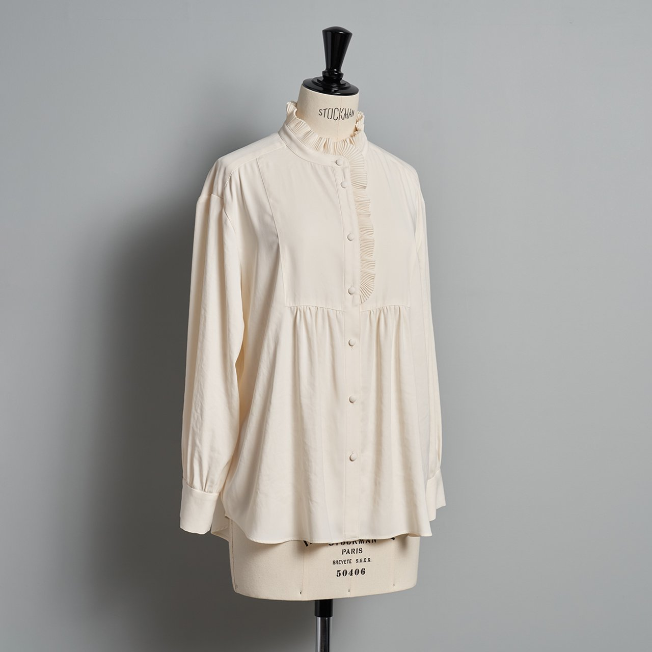 PaleJute<BR>Pleated blouse sophie<BR>vanilla white