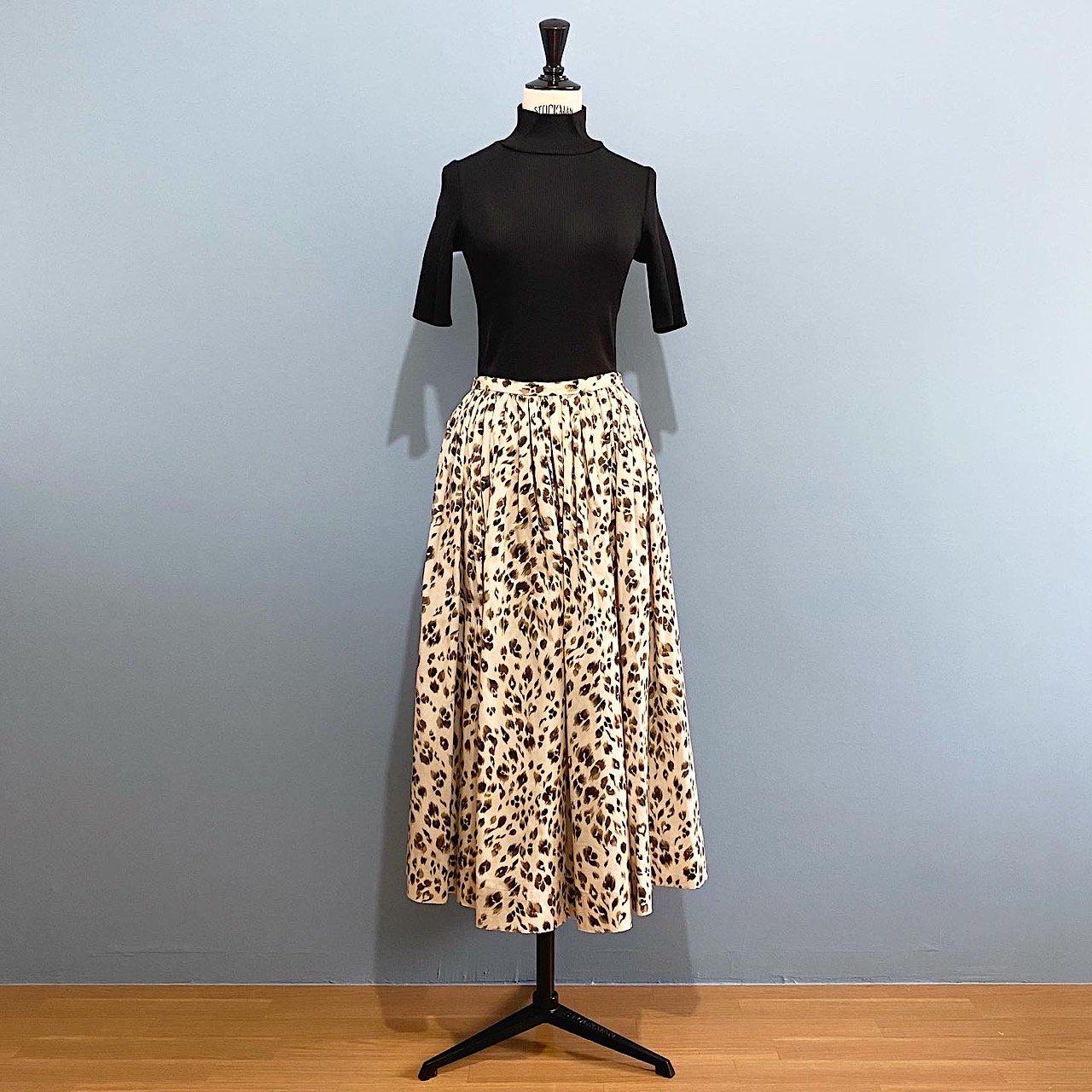 SINME レオパードプリントスカート<BR>ベージュ