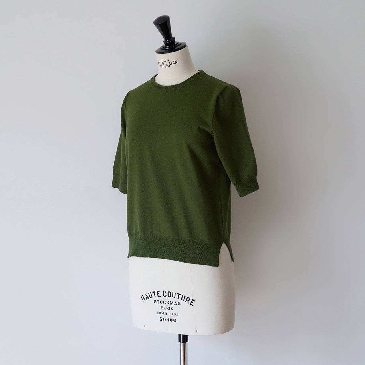 MAISON CARRÉE <BR>Basic half sleeve knit ・DEEP GREEN
