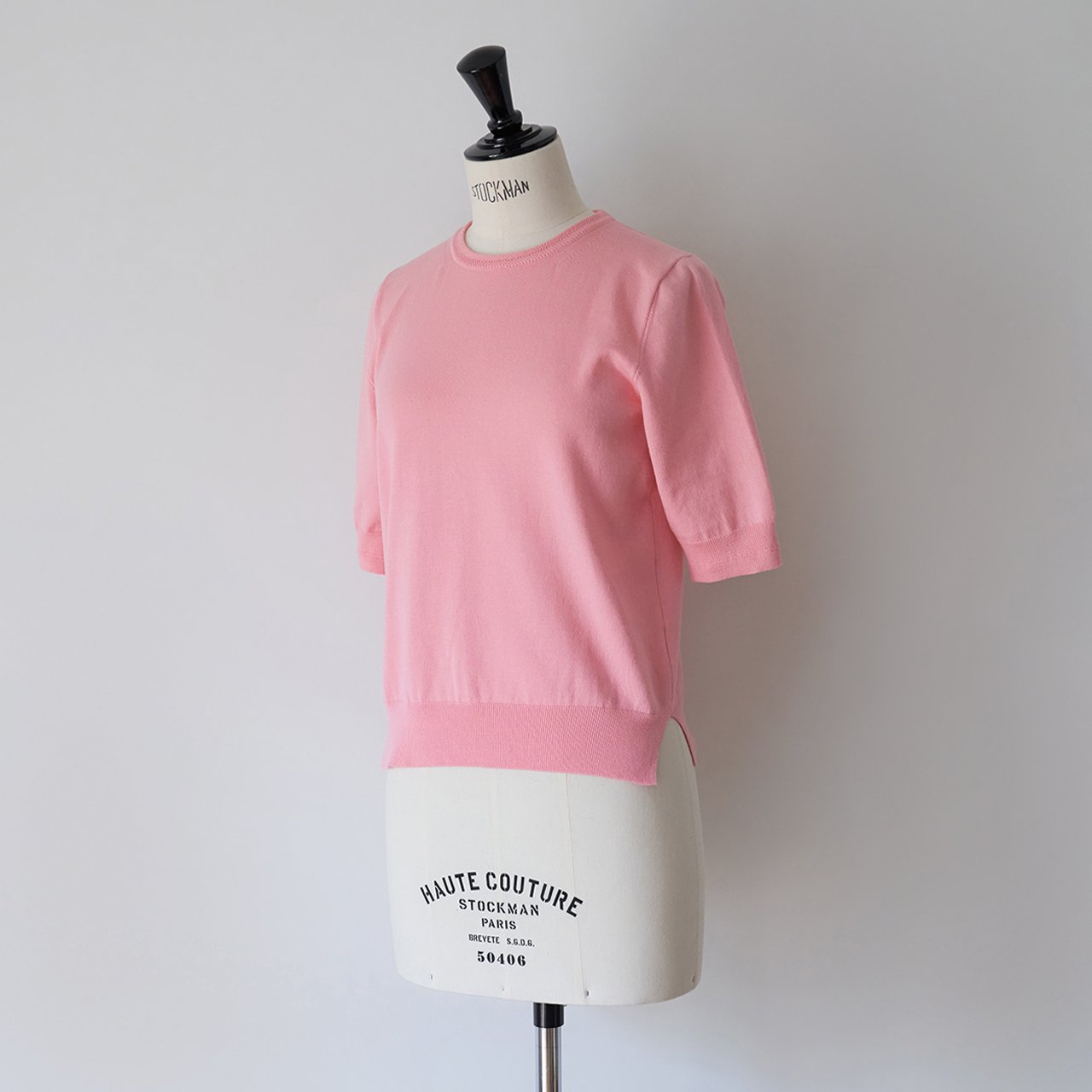 MAISON CARRÉE <BR>Basic half sleeve knit ・PINK