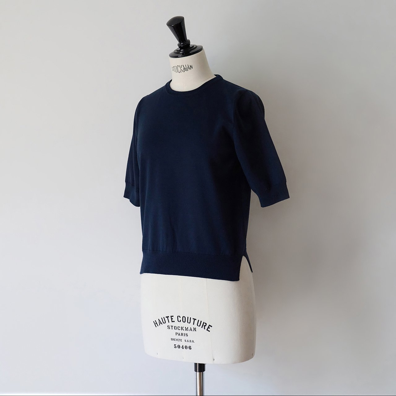 MAISON CARRÉE<BR>Basic half sleeve knit ・DARK NAVY