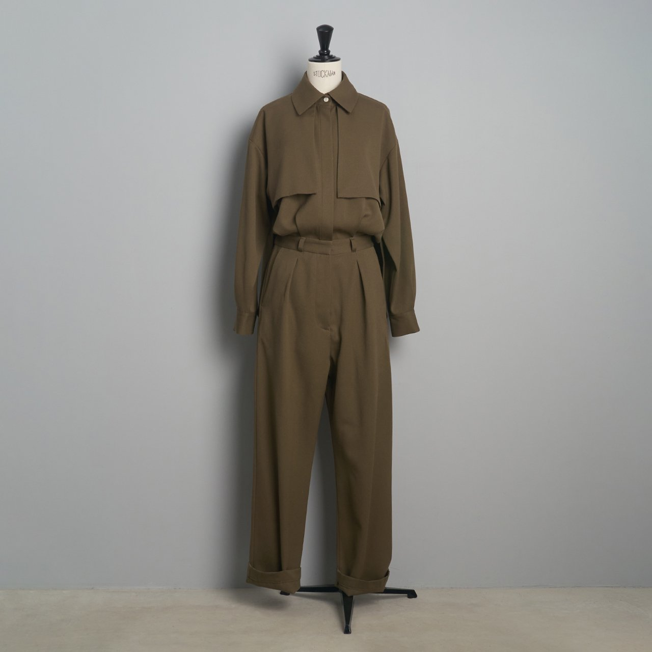 pelleq<BR>tuxedocloth jumpsuit<BR>dry leaf