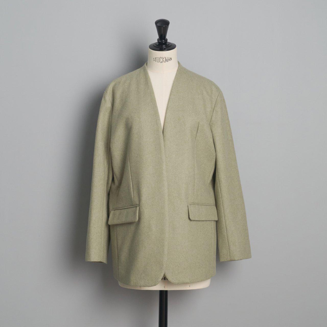 pelleq<BR>collarless jacket<BR>sage