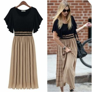 フリル袖×ギャザースカートが魅力的なバイカラーのロングワンピース