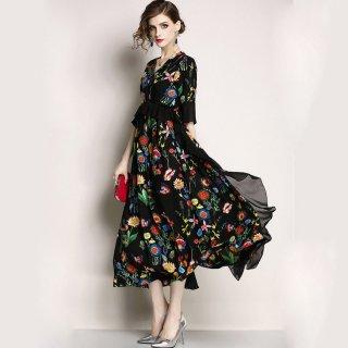 【即納】マタニティ ドレス ハイウエスト ペプラム 花柄 ロング