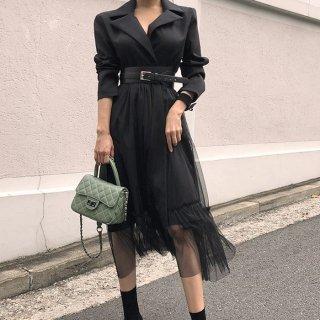 チュールスカートがキュートなトレンチ風Aラインワンピース