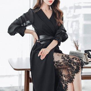 スリットから魅せる花柄レースがセクシーなベルト付きワンピース ドレス