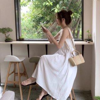 【即納】ナチュラルで大人かわいい白キャミワンピ