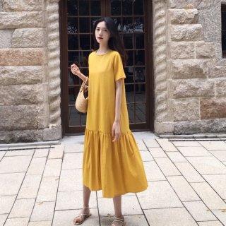 クシュっとギャザーのスカートがかわいい半袖のゆったりTシャツワンピース 2色