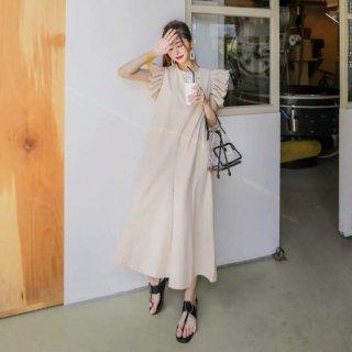 たっぷりギャザーのフリル袖が可愛いきれいめカジュアルな半袖ロングワンピース