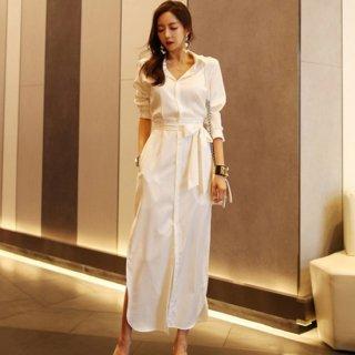 通勤コーデや産後のお出かけに きれいめカジュアルな白の長袖ワンピース