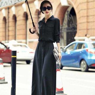 産後の体型カバーにも 黒の細見せワントーンがおしゃれな袖ありシャツワンピース