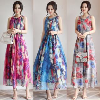 【即納】妊婦さんにも 花柄プリントの総柄シフォン ロング ワンピース 3色