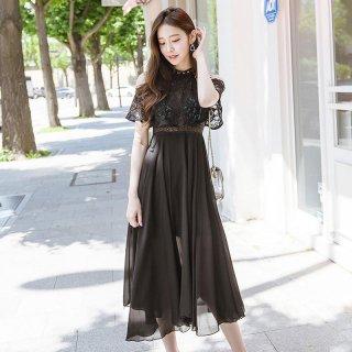 【即納】二次会やお呼ばれに フェミニンなオープンショルダー シフォンマタニティ ドレス