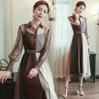 大人カラーの透け感シフォンがかわいいベルト付き長袖シャツワンピース ドレス
