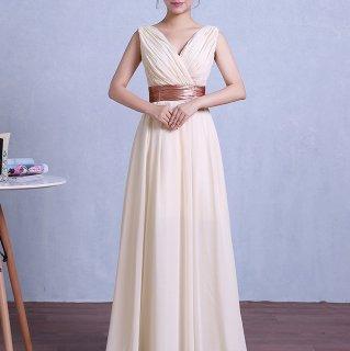 結婚式やパーティーに やわらかシフォンのバックレースアップがかわいいロングドレス