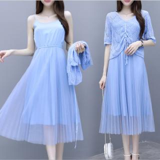 デイリーからお呼ばれまで シフォンのプリーツスカートがかわいいカーディガン付きワンピース カジュアルドレス 3色