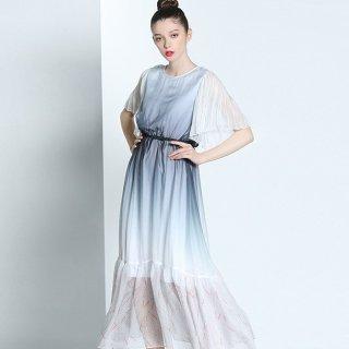 お呼ばれドレスにも プリーツスリーブがおしゃれな異素材MIXの個性派ワンピース