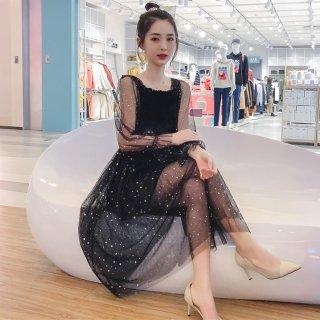 デイリーからお呼ばれまで 黒シースルーのプチドット柄がかわいい膝丈長袖ワンピース ドレス