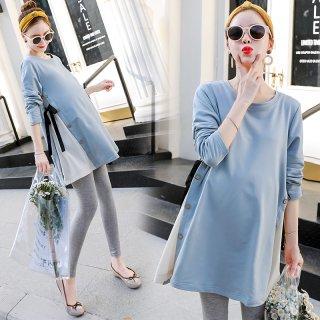 マタニティコーデに サイド切り替えのリボンがキュートな長袖チュニックワンピース 3色