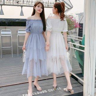 ふんわりチュールのティアードスカートがガーリーな半袖オフショルワンピース ドレス 2色