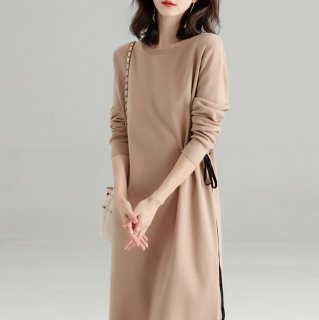 ウエスト紐のアシメデザインがおしゃれな長袖のきれいめニットワンピース 3色