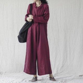 妊娠後期でも安心 ワイドシルエットでおしゃれに体型カバーできる長袖パンツオールインワン 4色
