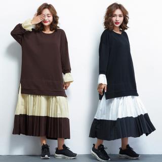 レイヤード風ビックシルエットがおしゃれなプリーツスカートの長袖ロングワンピース 2色