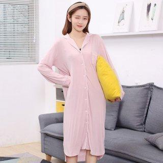 出産準備におすすめ ワンピースタイプで着心地抜群な長袖パジャマ ルームウェア 2色